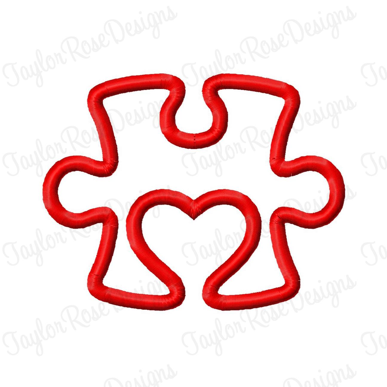 Puzzle Piece Heart Applique.