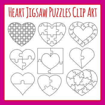 Heart Jigsaw Puzzles Commercial Use Clip Art Set.