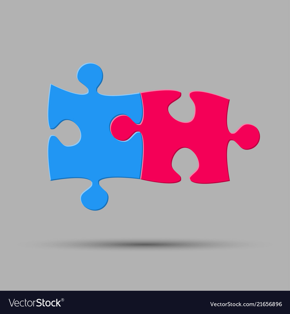 Two pieces puzzle two steps jigsaw logo.