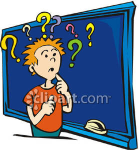 Puzzled Child At a Blackboard Royalty Free Clipart Picture.