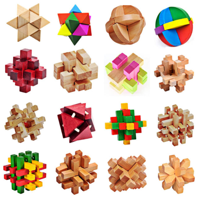 3d Magic Cube Puzzle Wood Brain Teaser Wooden Educational Toy Game.