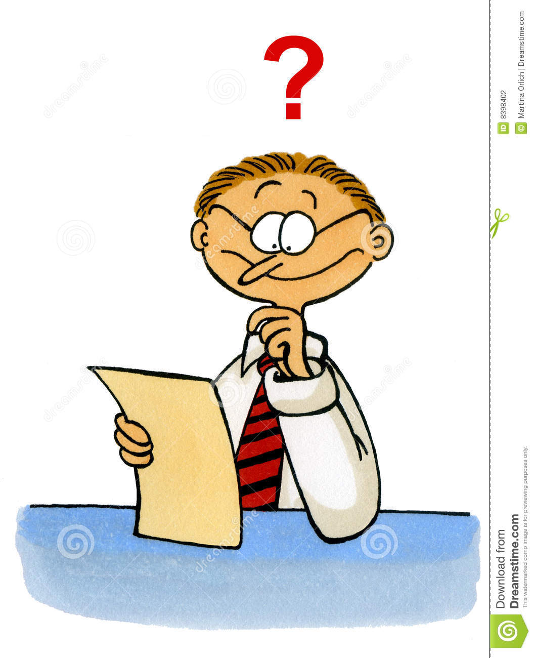 Cartoon Of A Man Looking Puzzled At A Document Stock Photography.