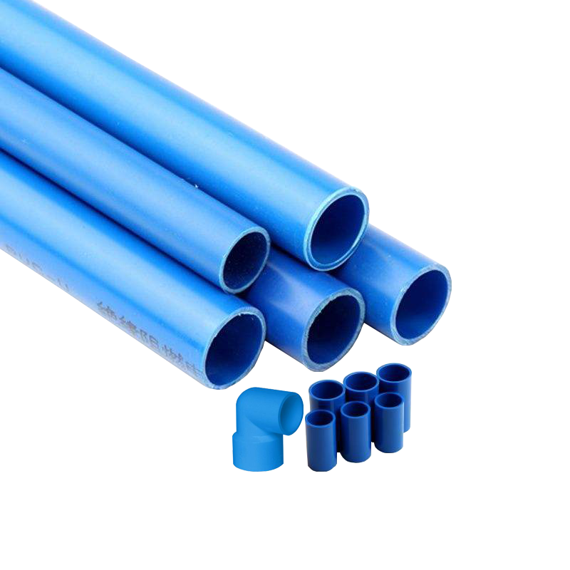 Plumbing System Plastic Blue Color Pvc Pipes And Fittings.