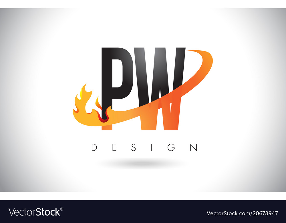 Pw p w letter logo with fire flames design and.