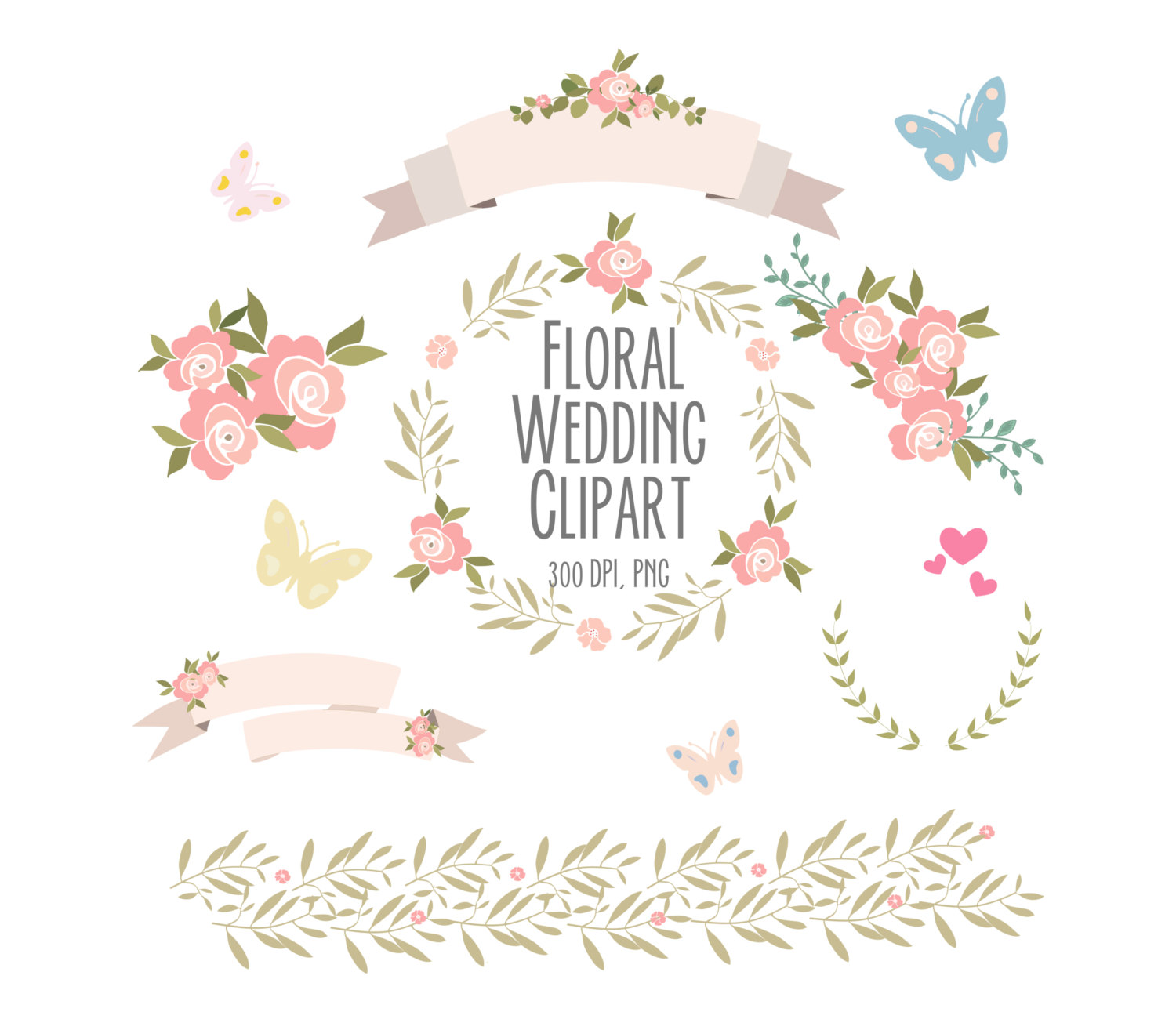 Floral roses clipart set 3 wedding clipart by Thelittleclouddd.