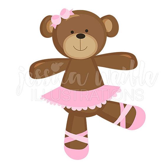 Ballerina Bear Cute Digital Clipart, Ballet Bear Clip art, Ballet.