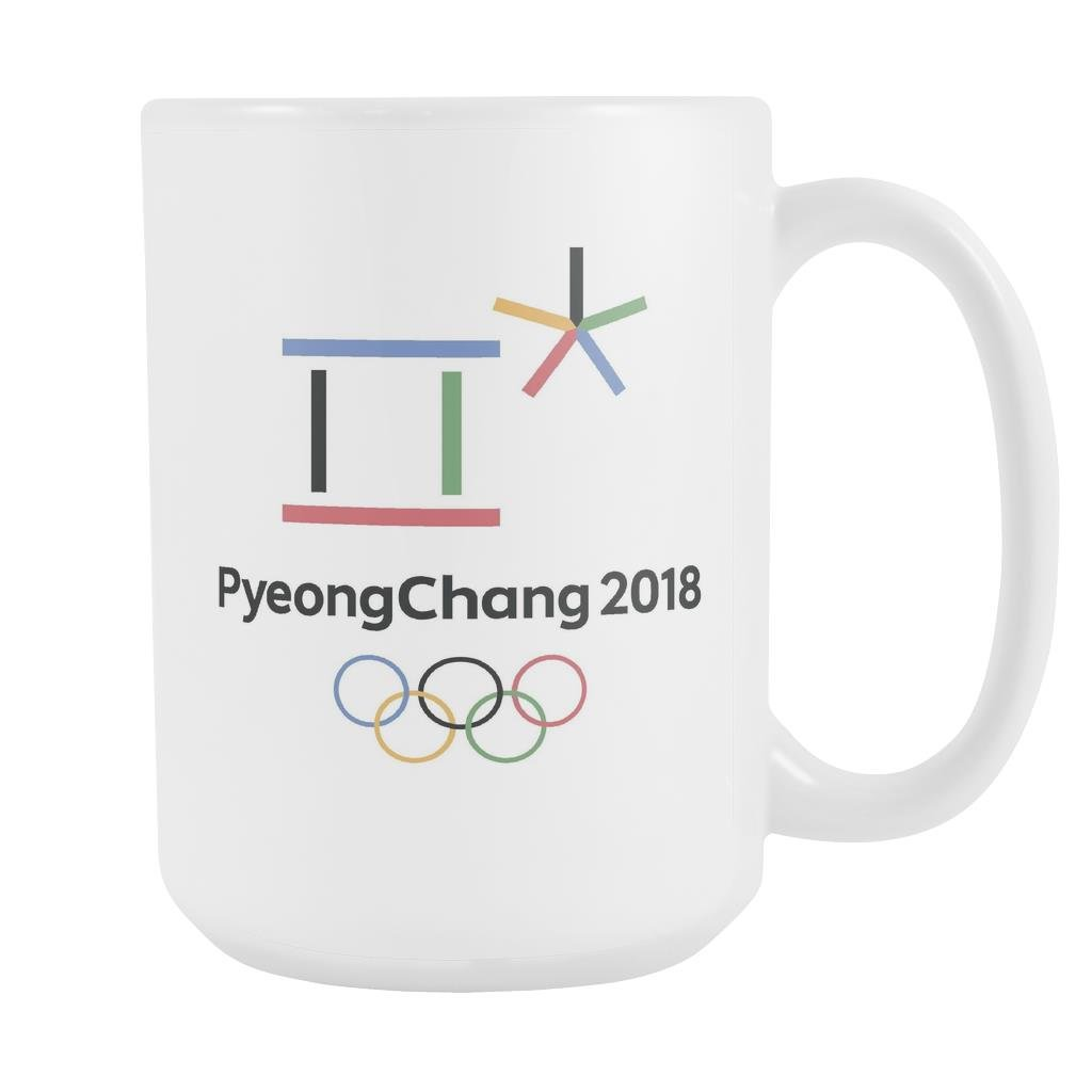 PyeongChang Mug Winter Olympics 2018 Pyeong Chang Logo White Ceramic 15 oz  Coffee Mug / Tea Cup by Awesome eMERCHency.