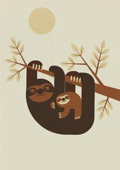 Sloth Family Clip Art, Sloth Clipart, Animal clipart, Sloth.