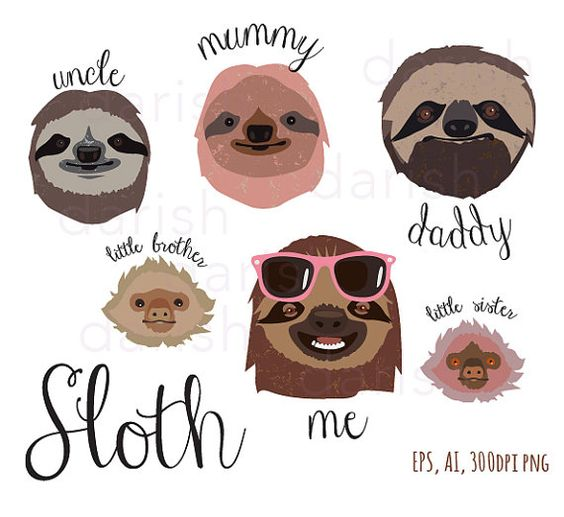 Sloth Family Clip Art, Sloth Clipart, Animal clipart, Sloth.