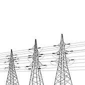 Clipart of Electricity Pylons k10366652.