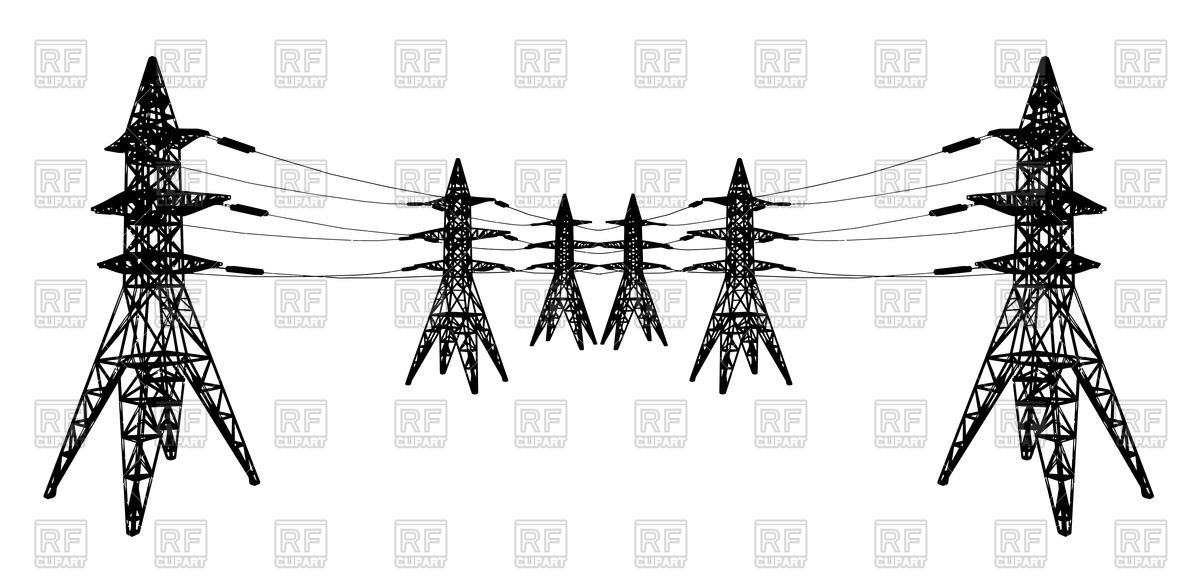 Power lines and electric pylons Vector Image #73500.