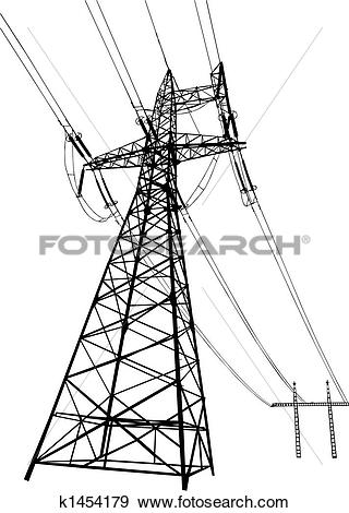 Clip Art of Power lines and pylons k1454179.