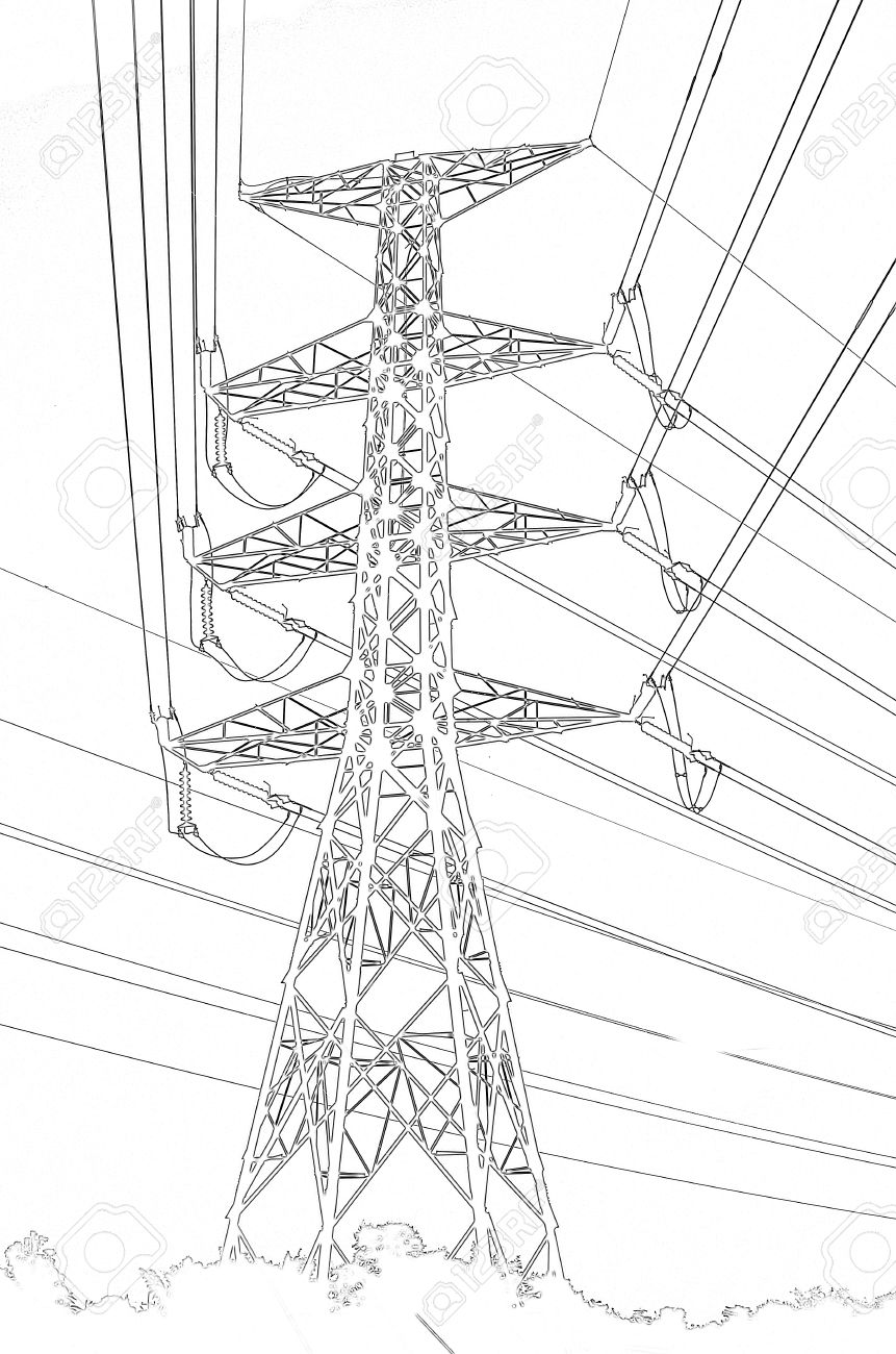 High Voltage Power Pylons Clip Art, Thailand Stock Photo, Picture.