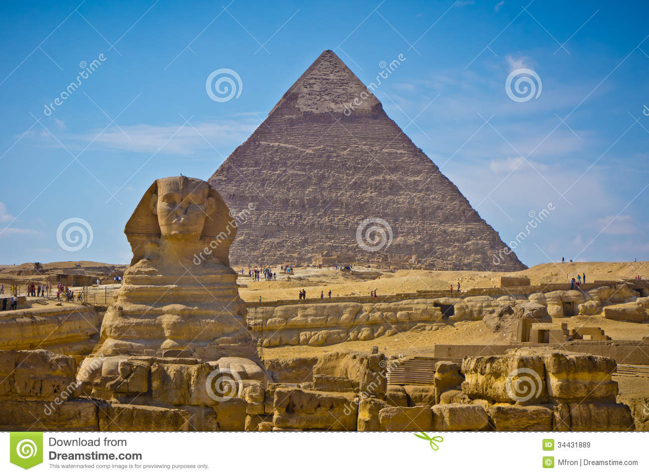 Pyramid Of Khafre And Great Sphinx In Giza, Egypt Royalty Free.