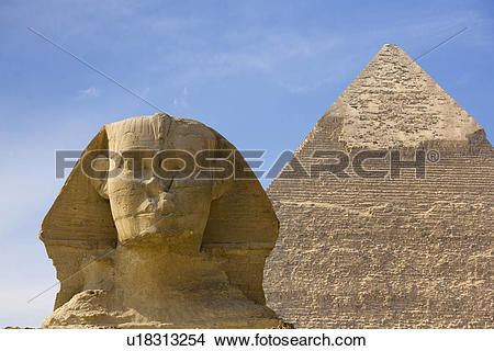 Stock Photo of Egypt, Giza, Pyramids of Giza. The Great Sphinx and.