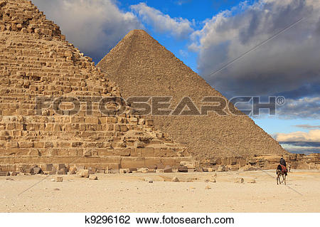 Stock Photo of Pyramid of Khafre and the Pyramid of Cheops, Egypt.
