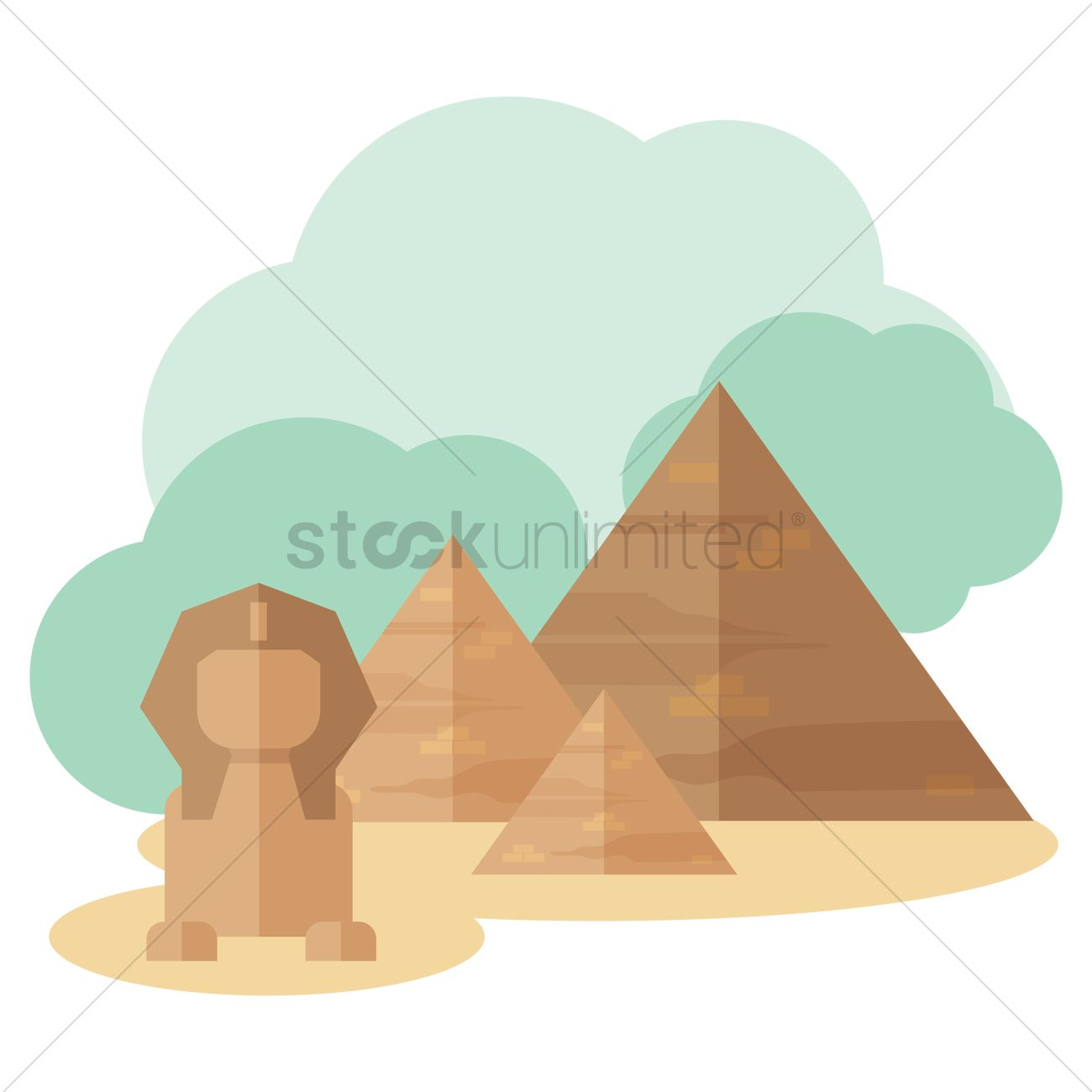 Great pyramid of giza and great sphinx Vector Image.