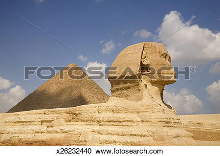 Stock Photography of side view sphinx and pyramid x26232440.