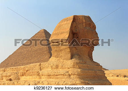 Picture of The Sphinx and the Great Pyramid, Egypt k9236127.