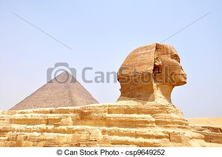 Clip Art of Sphinx and pyramid in Cairo,Egypt.