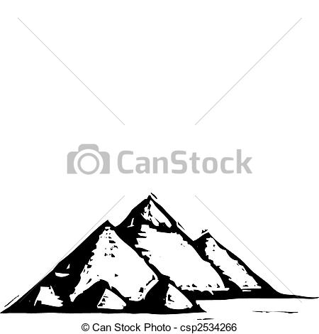 Clip Art Vector of Egyptian Pyramids.