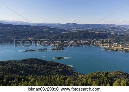"""Stock Photography of """"View from Pyramidenkogel Mountain, Lake."""
