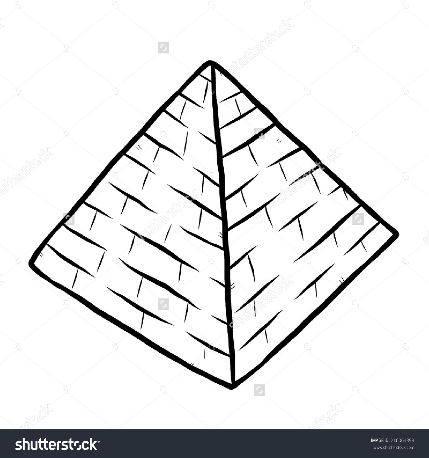 Pyramid Cartoon Vector Illustration Black White Stock Vector.