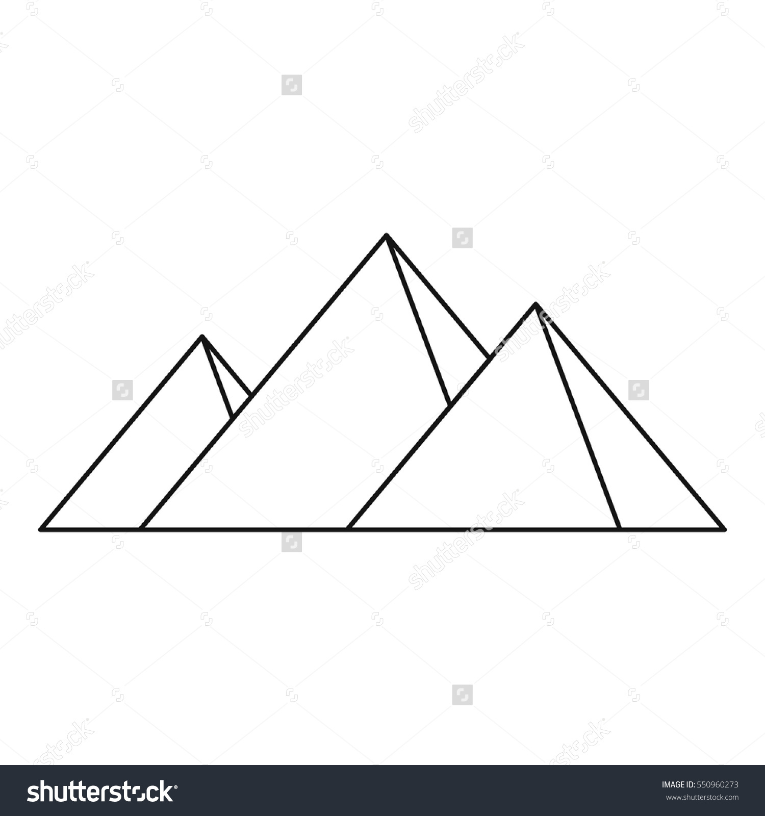 Pyramids Egypt Icon Outline Illustration Pyramids Stock Vector.