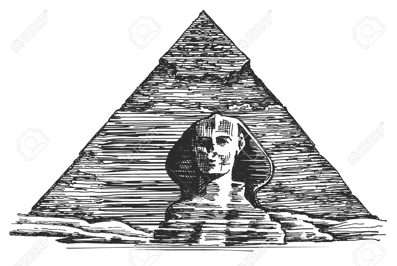 Egyptian Pyramid On A White Background. Vector Illustration.