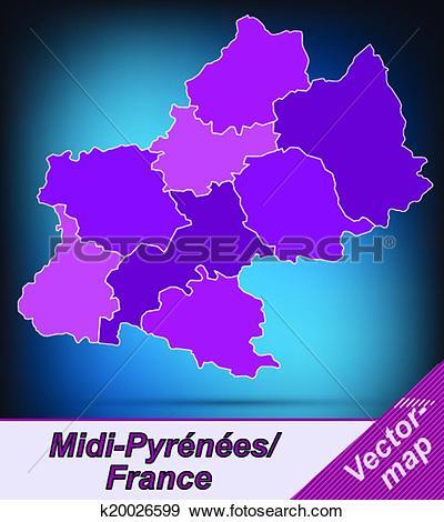 Clip Art of Map of Midi.