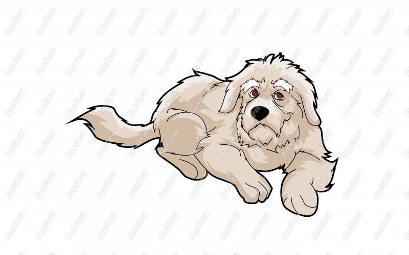 Friendly Great Pyrenees Dog Character Clip Art.