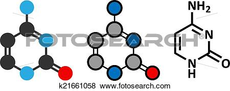 Clip Art of Cytosine pyrimidine nucleobase component. One of the.