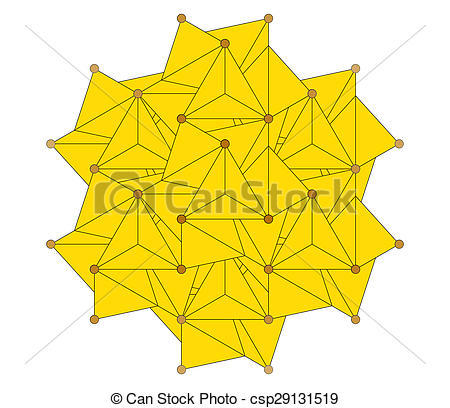 Clipart of Pyrite (fool's gold) mineral, crystal structure.