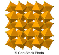 Clip Art of Pyrite (fool's gold) mineral, crystal structure.