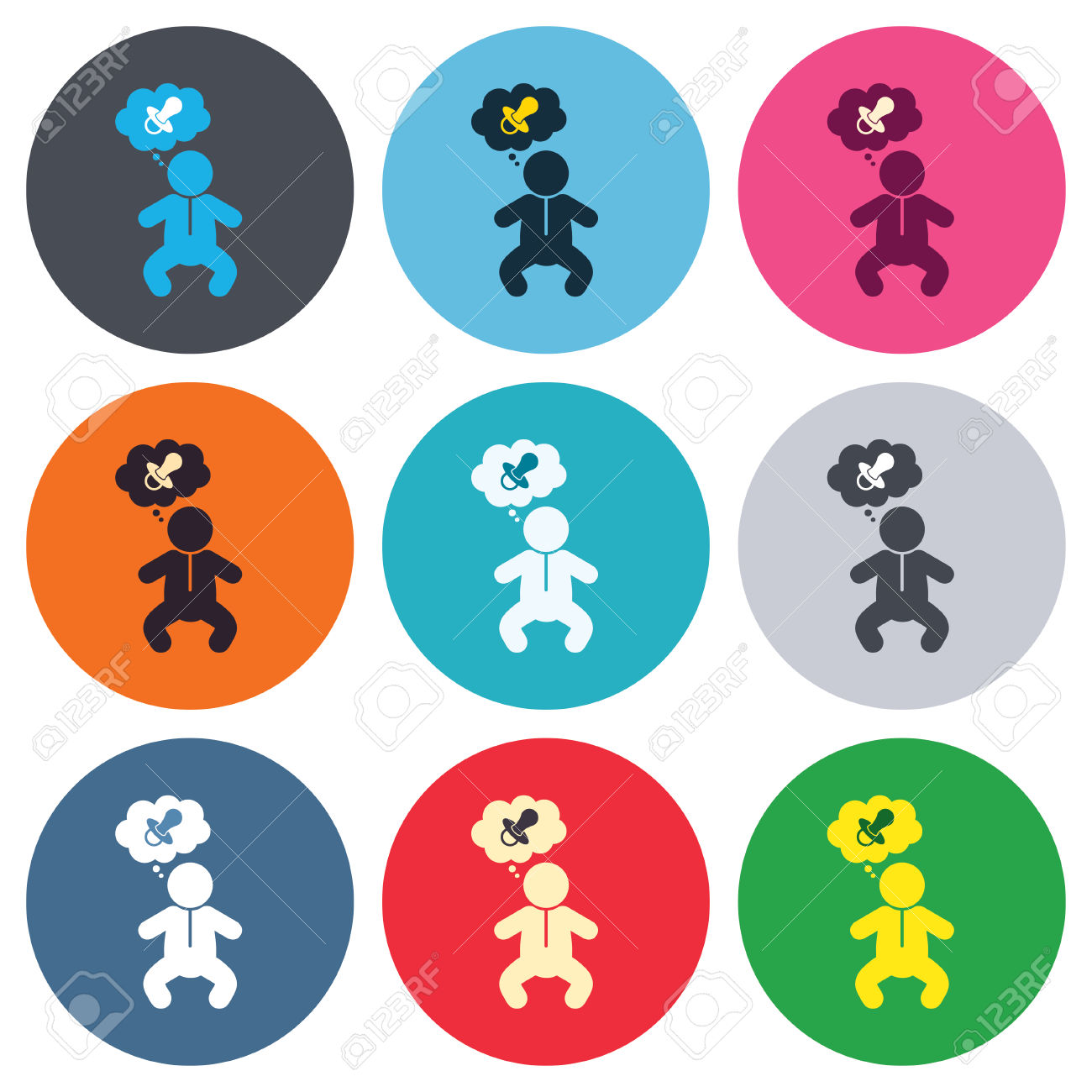 Baby Infant Think About Pacifier Nipple Sign Icon. Toddler Boy.