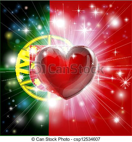 Vector Clipart of Love Portugal flag heart background.