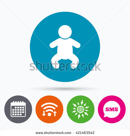 Wifi, Sms And Calendar Icons. Baby Infant Sign Icon. Toddler Boy.