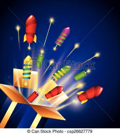 Vectors Illustration of pyrotechnic fireworks design, vector.