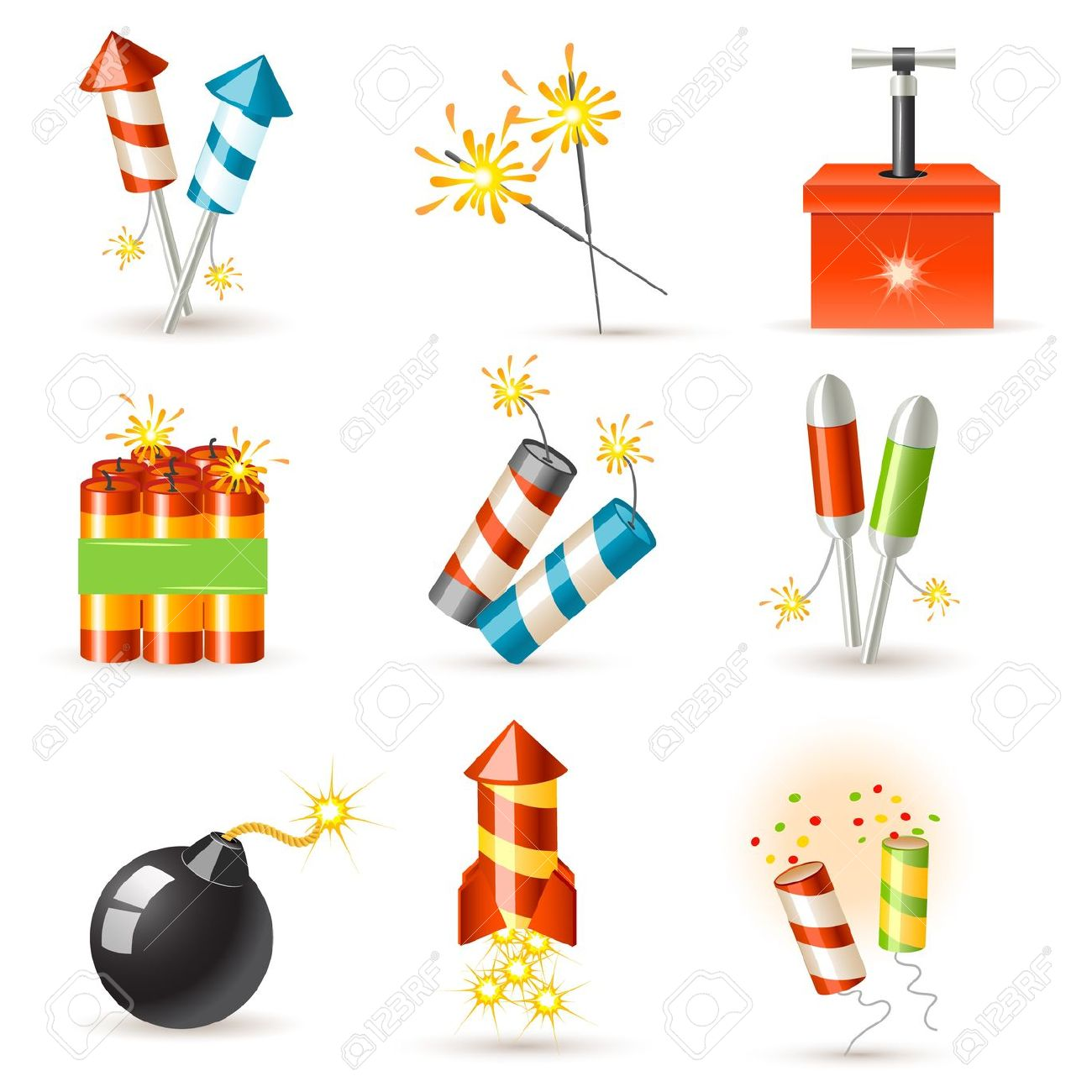 Pyrotechnic Icon Set Royalty Free Cliparts, Vectors, And Stock.