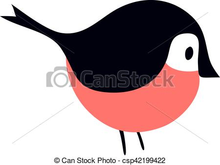 Vector Illustration of Bullfinch colorful nature winter bird.