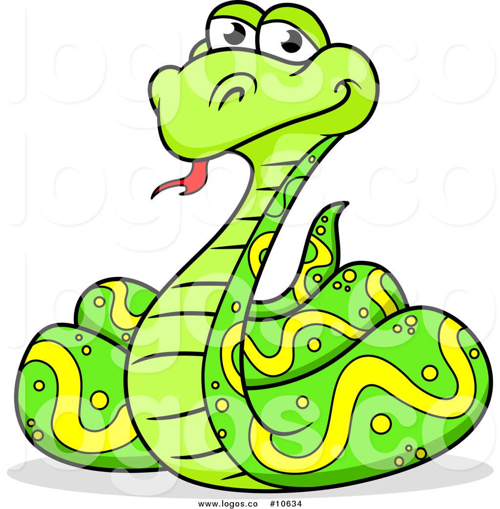 Royalty Free Clip Art Vector Logo of a Happy Coiled Green.