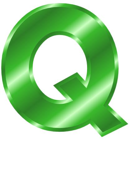 Green Metal Letter Capitol Q Clip Art Download.