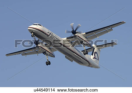 Stock Photo of Bombardier Q400 of Horizon Airline landing at Los.