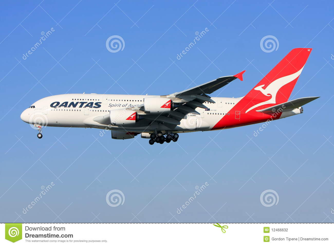 Qantas Airbus A380 In Flight. Editorial Photography.