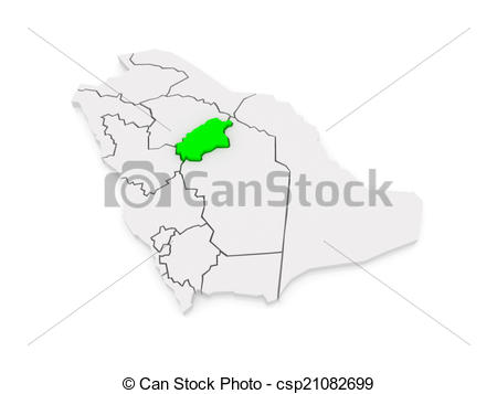 Stock Illustration of Map of Al Qasim. Saudi Arabia. 3d.