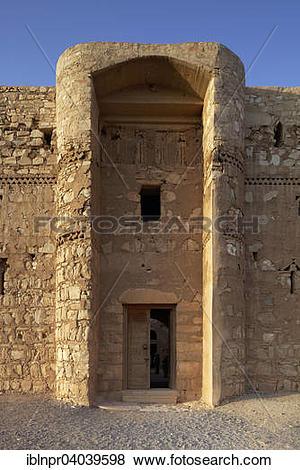 """Pictures of """"Entrance, desert castle Qasr Kharana or Qasr al."""