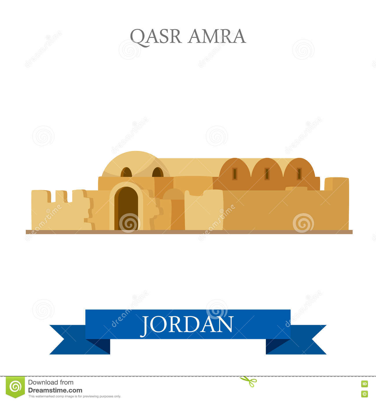 Qasr Amra In Jordan Vector Flat Attraction Landmarks Stock Vector.