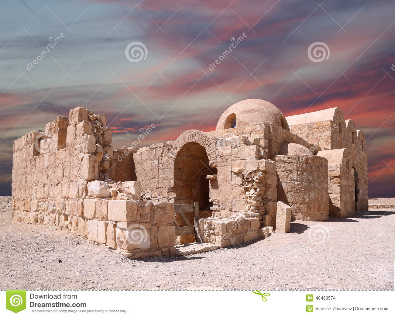Quseir (Qasr) Amra Desert Castle Near Amman, Jordan Stock Photo.