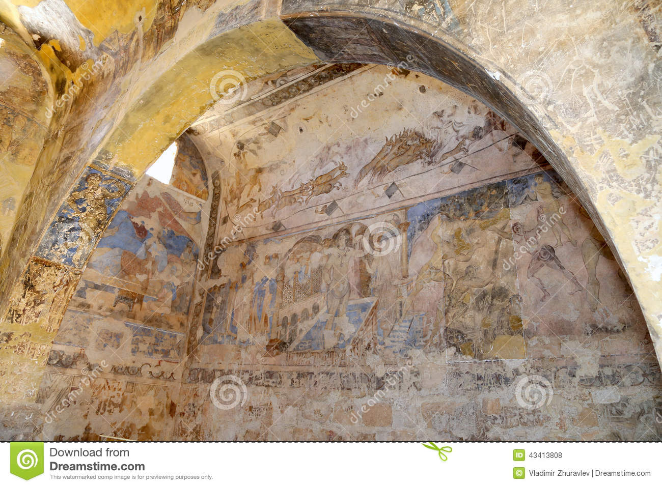Fresco At Quseir (Qasr) Amra Desert Castle Near Amman, Jordan.