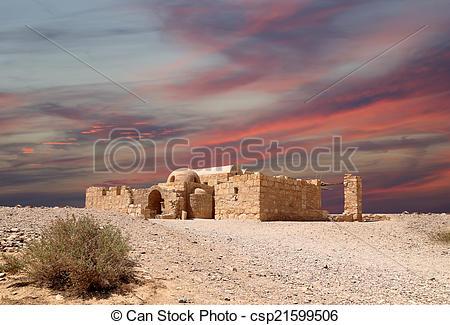 Stock Photography of Quseir (Qasr) Amra desert castle near Amman.